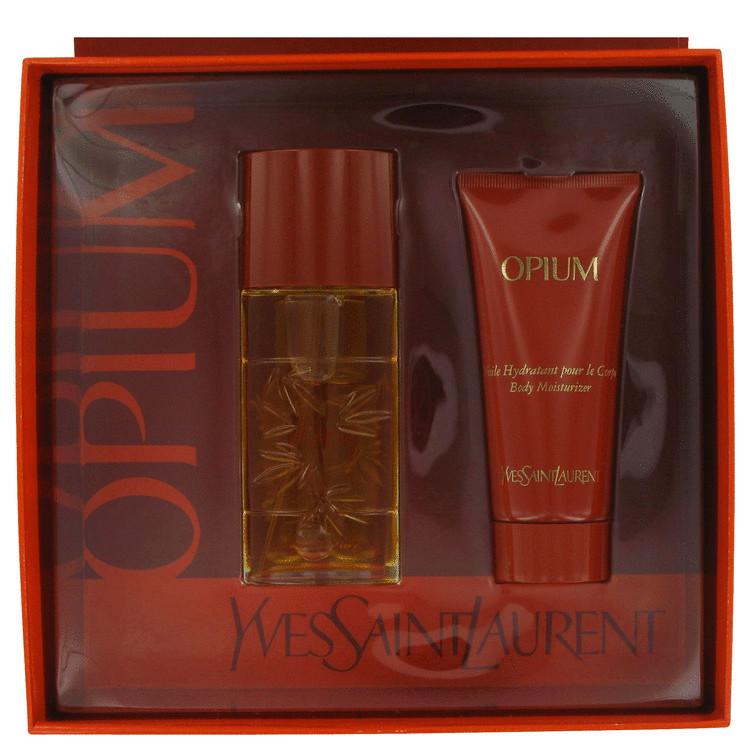 Opium Gift Set -- Gift Set - 1.6 oz Eau De Toilette Spray + 3.4 oz Body Lotion for Women
