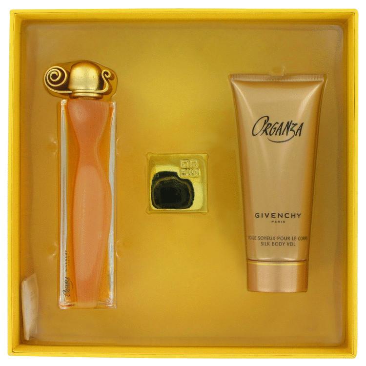 Organza Gift Set -- Gift Set - 1.7 oz Eau De Parfum Spray + 3.3 oz Body Lotion +.06 oz Perfumed Silky Balm for Women