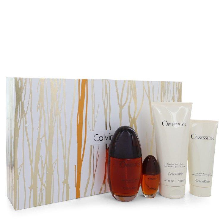 OBSESSION by Calvin Klein for Women Gift Set -- 3.4 oz Eau De Parfum Spray + 6.7 oz Body Lotion + .5 oz Mini EDP Spray + 3 oz Sh