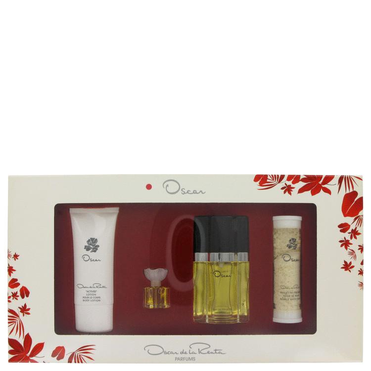 Oscar Gift Set -- Gift Set - 1.6 oz Eau De Toilette Spray + 1.6 oz Body Lotion + .13 oz Min EDP + 1.4 oz Pearly Bath Dust for Women