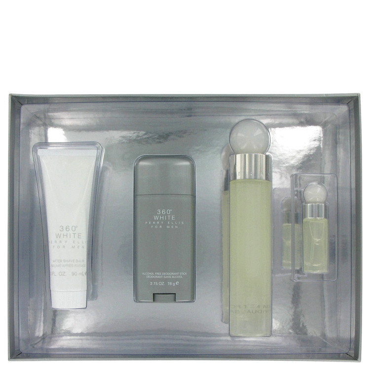 Perry Ellis 360 White Gift Set -- Gift Set - 3.4 oz Eau De Toilette Spray + 2.75 Deodorant Stick + 3 oz After Shave Balm + .25 oz Mini EDT Spray for M