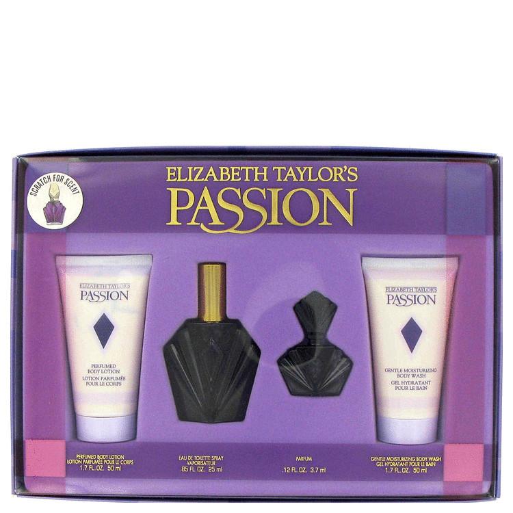 Passion Gift Set -- Gift Set - 0.85 oz Eau De Toilette Spray + 1.7 oz Body Lotion + 0.12 oz Parfum + 1.7 oz Body Wash for Women