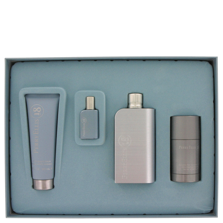Perry Ellis 18 for Men, Gift Set (3.4 oz EDT Spray + 3 oz After Shave Balm + 2.75 Deodorant Stick + .25 oz Mini EDT Spray)