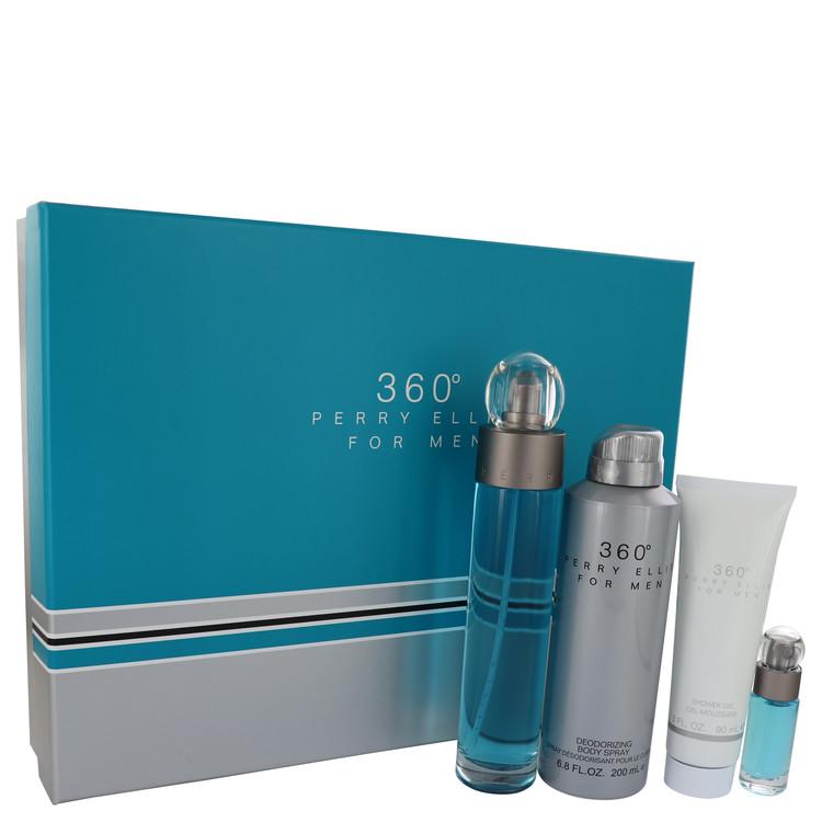 perry ellis 360 by Perry Ellis for Men Gift Set -- 3.4 oz Eau De Toilette Spray + 6.8 oz Body Spray + 3 oz Shower Gel + .25 oz M