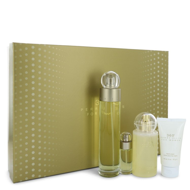 Perry Ellis 360 Gift Set -- Gift Set - 3.4 oz Eau De Toilette Spray + 4 oz Body Mist + 2 oz Hand Cream + .25 Mini EDT Spray for Women