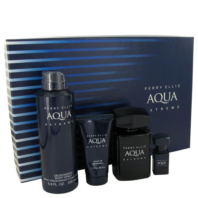 Perry Ellis Aqua Extreme Gift Set -- Gift Set - 3.4 oz Eau De Toilette Spray + .25 oz Mini EDT Spray + 6.8 oz Body Spray + 1.7 oz Shower Gel for Men
