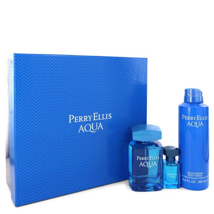 Perry Ellis Aqua Gift Set -- Gift Set - 3.4 oz Eau DE Toilette Spray + 0.5 oz Mini EDT Spray + 6.8 oz Deodorant Spray for Men