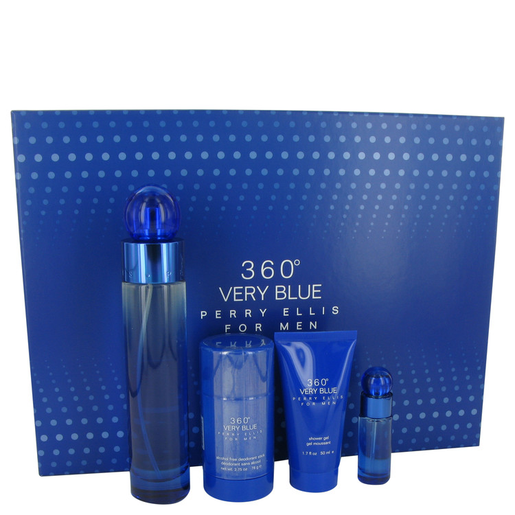 Perry Ellis 360 Very Blue for Men, Gift Set (3.4 oz EDT Spray + .25 oz Mini EDT Spray + 2.75 oz Deodorant Stick + 1.7 oz Shower Gel)