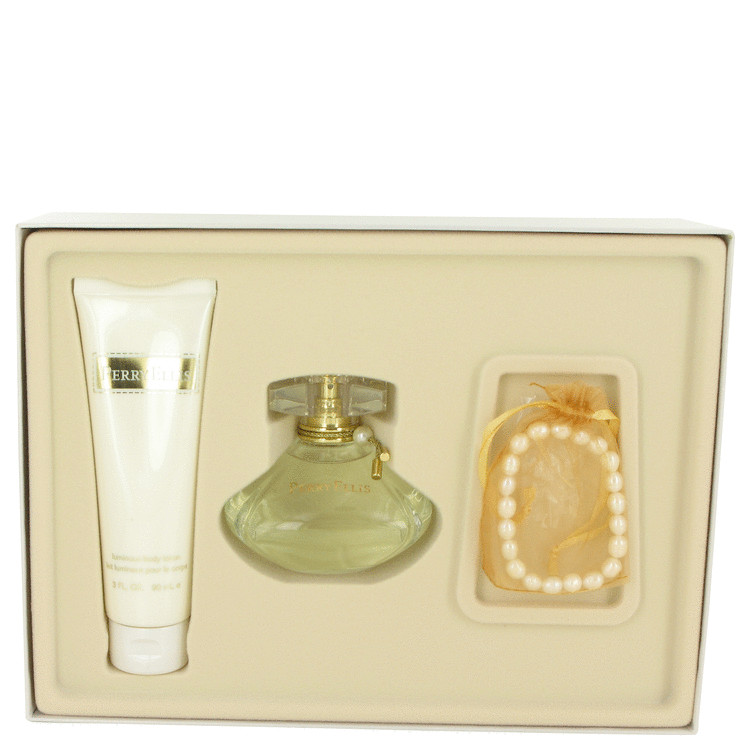 Perry Ellis (new) for Women, Gift Set (3.4 oz EDP Spray + 3 oz Body Lotion + Cultured Pearl Bracelet)