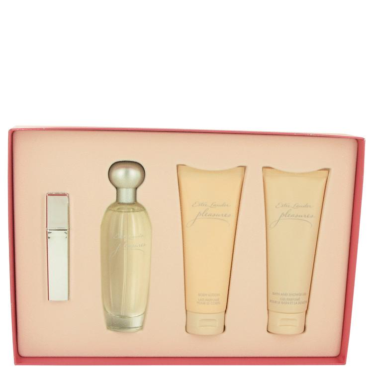 Pleasures Gift Set -- Gift Set - 3.4 oz Eau De Parfum Spray + .17 oz Mini EDP Travel Spray + 3.4 oz Body Lotion + 3.4 oz Shower Gel for Women