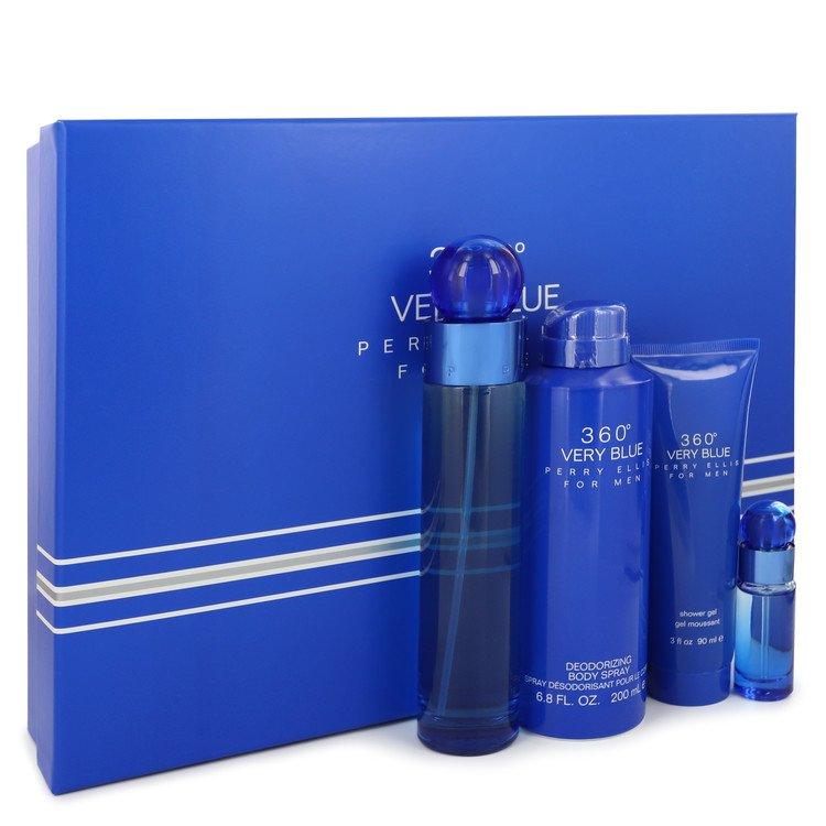 Perry Ellis 360 Very Blue Gift Set -- Gift Set - 3.4 oz Eau De Toilette Spray + .25 oz Mini EDT Spray + 3 oz Shower Gel + 6.8 oz Body Spray for Men