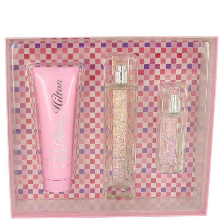 Paris Hilton Heiress Gift Set -- Gift Set - 3.4 oz Eau De Parfum Spray + 1 oz Mini EDP Spray + 3 oz Body Lotion for Women
