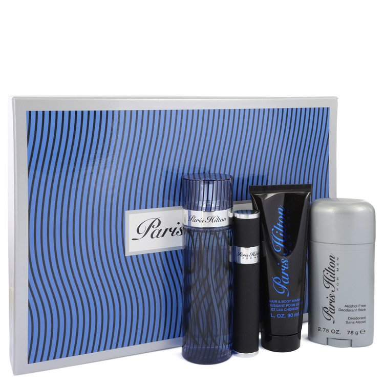 Paris Hilton Gift Set -- Gift Set - 3.4 oz Eau De Toilette Spray + .34 oz Mini EDT Spray + 3 oz Hair & Body Wash + 2.75 Deodorant Stick (Alcohol Free)