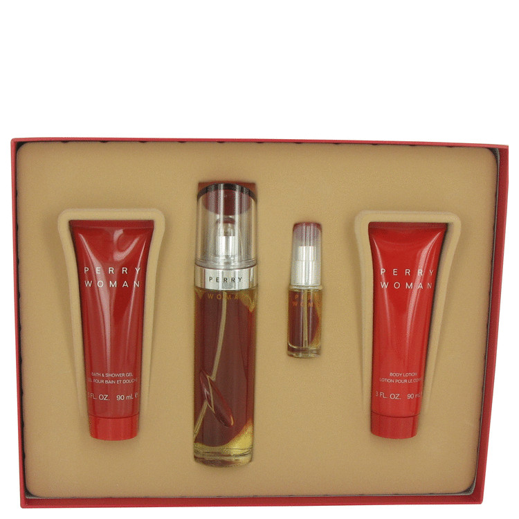 Perry Woman for Women, Gift Set (3.4 oz EDP Spray + 3 oz Body Lotion + 3 oz Shower Gel  + .25 oz Mini EDP Spray)