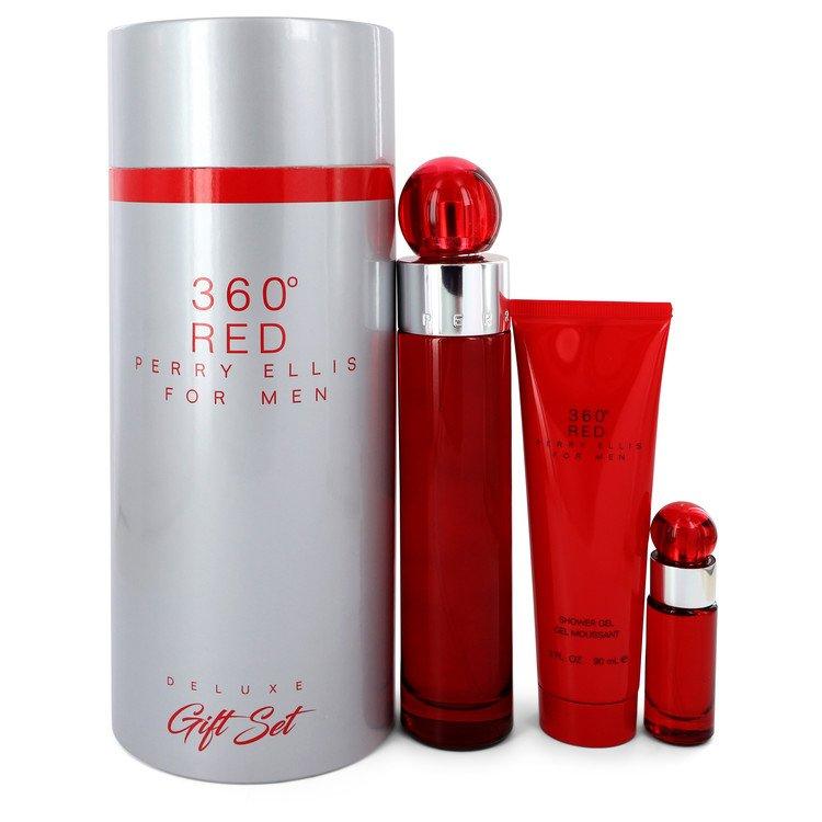 Perry Ellis 360 Red by Perry Ellis –  Gift Set — 3.4 oz Eau De Toilette Spray + .25 oz Mini EDT Spray + 3 oz Shower Gel in Tube Box — for Men