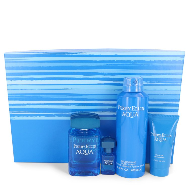 Perry Ellis Aqua by Perry Ellis –  Gift Set — 3.4 oz Eau De Toilette Spray + .25 oz Mini EDT Spray + 6.8 oz Body Spray + 1.7 oz Shower Gel — for Men