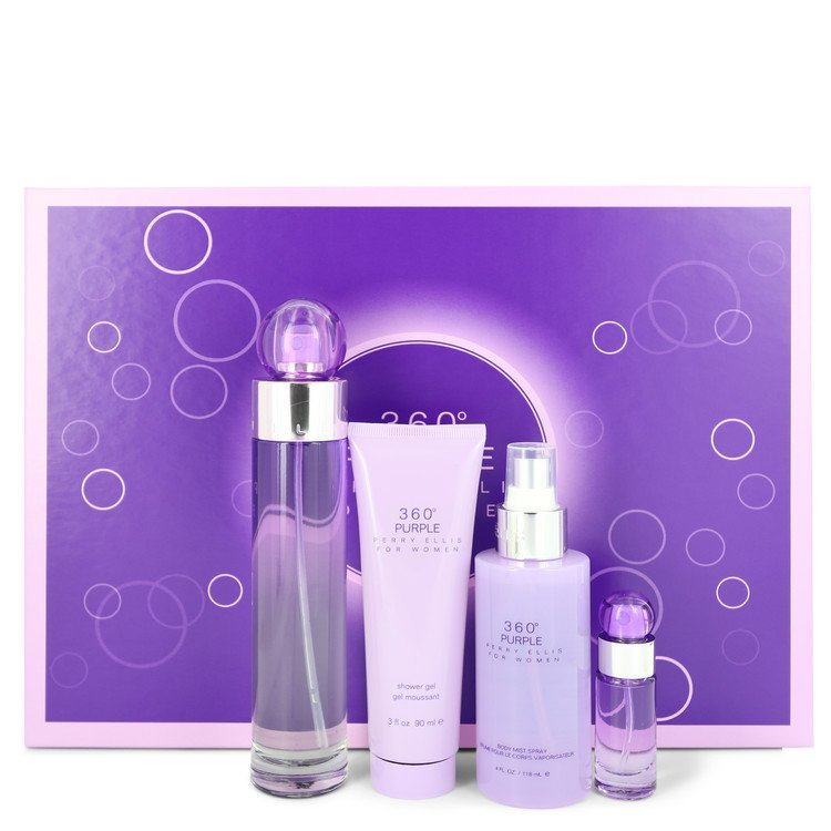 Perry Ellis 360 Purple by Perry Ellis Women's Gift Set -- 3.4 oz Eau De Parfum Spray + .25 oz Mini EDP Spray + 4 oz Body Mist Spray + 3 oz Shower Gel