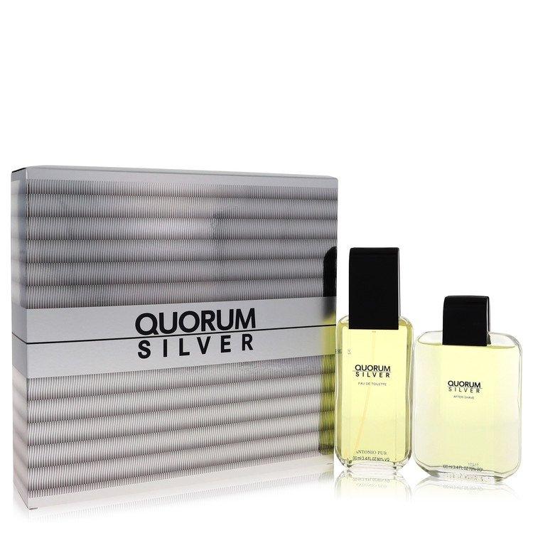 Quorum Silver Gift Set -- Gift Set - 3.4 oz Eau De Toilette Spray + 3.4 oz After Shave for Men