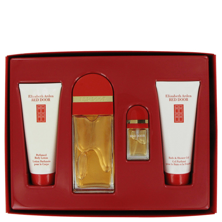 Red Door Gift Set -- Gift Set - 3.3 oz Eau De Toilette Spray + .33 Eau De Toilette Spray + 3.3 oz Body Lotion + 3.3 oz Shower Gel for Women