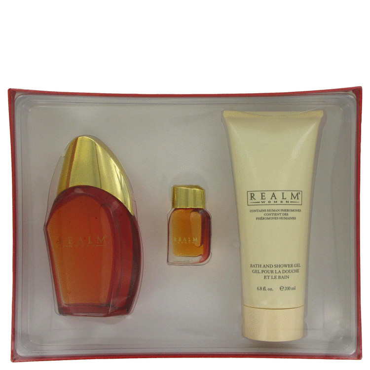 Realm Gift Set -- Gift Set - 3.4 oz Eau De Toilette Spray +.25 oz Mini EDT + 6.8 oz Shower Gel for Women