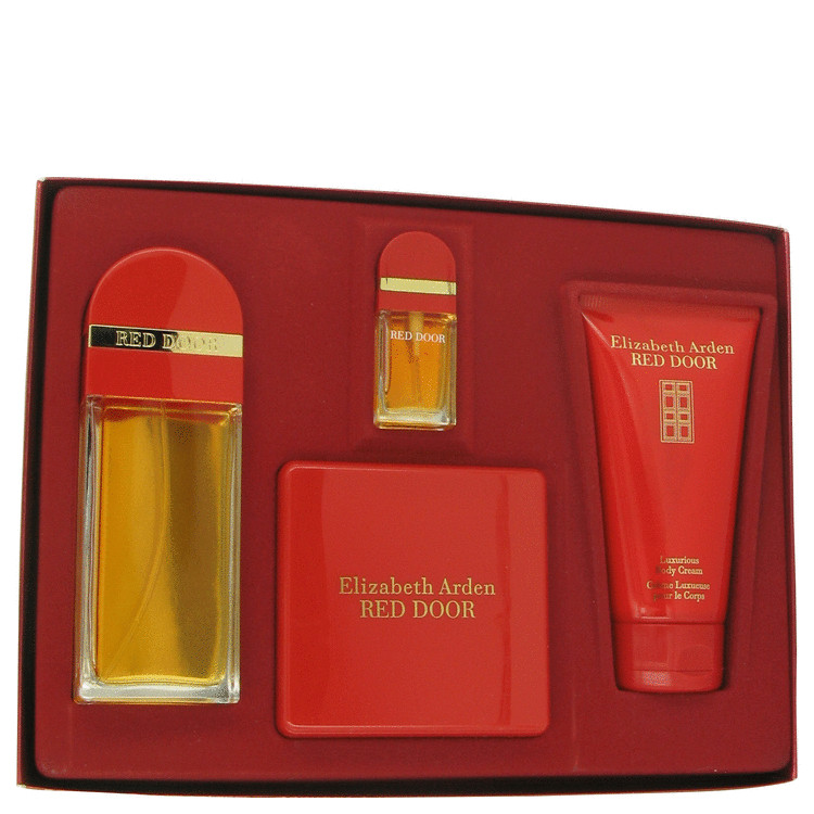 Red Door Gift Set -- Gift Set - 3.4 oz Eau De Toilette Spray + 5 oz Body Cream + 2.6 oz Body Powder + .33 oz Mini EDT for Women