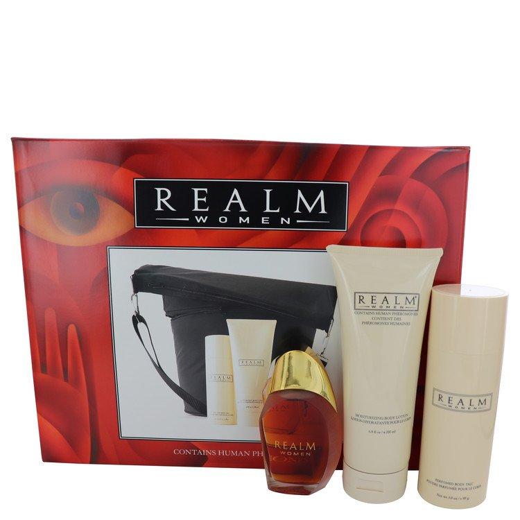 Realm Gift Set -- Gift Set - 1.7 oz Eau De Toilette Spray + 3 oz Talc + 6.8 oz Body Lotion with Expandable Duffle Bag for Women