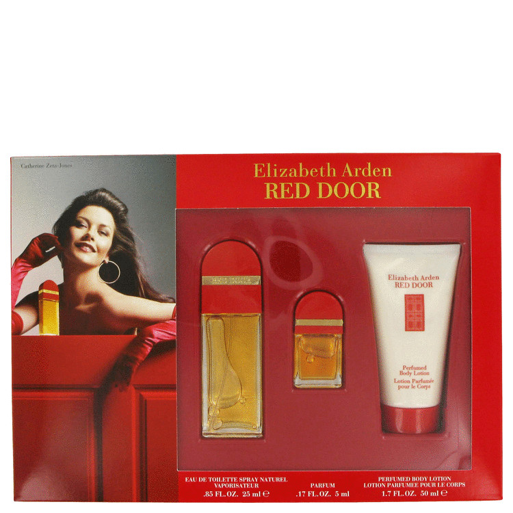 Red Door Gift Set -- Gift Set - .85 oz Eau De Toilette Spray + 1.7 oz Body Lotion + .17 oz  Parfum for Women