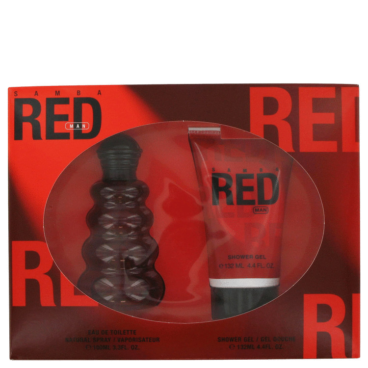 Samba Red Gift Set -- Gift Set - 3.4 oz Eau De Toilette Spray + 4.4 oz Shower Gel for Men