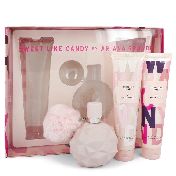 Sweet Like Candy by Ariana Grande for Women Gift Set -- 3.4 oz Eau De Parfum Spray + 3.4 oz Body Souffle + 3.4 oz Bath & Shower
