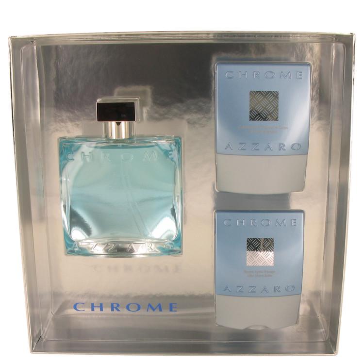 Chrome Gift Set -- Gift Set - 3.4 oz Eau DeToilette Spray + 2.6+ oz After Shave Balm + 2.6 oz All over Shampoo for Men