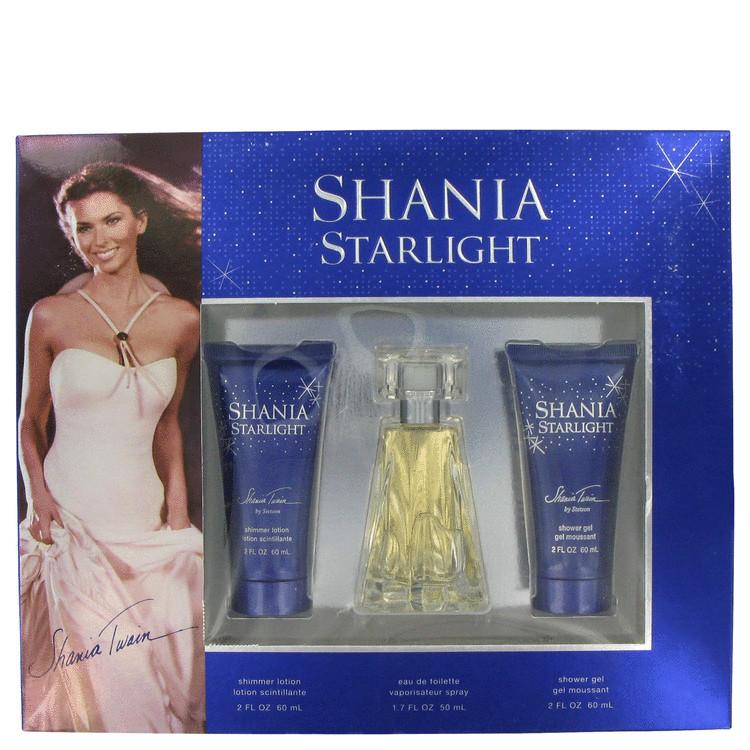 Shania Starlight Gift Set -- Gift Set - 1.7 oz Eau De Toilette Spray + 2 oz Shimmer Body Lotion + 2 oz Shower Gel for Women