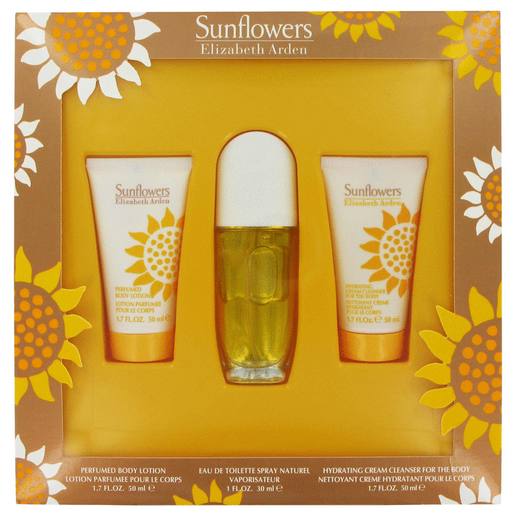 Sunflowers Gift Set -- Gift Set - 1 oz Eau De Toilette Spray + 1.7 oz Body Lotion + 1.7 oz Cream Cleanser for Body for Women