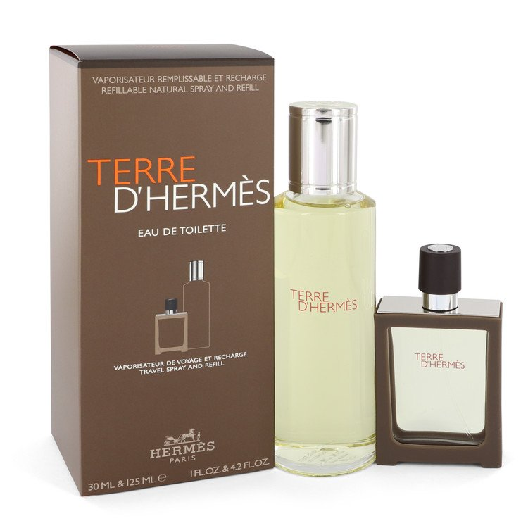 Terre D'hermes Gift Set -- Gift Set - 4.2 oz Eau De Toilette + 1 oz EDT Spray Refillable for Men