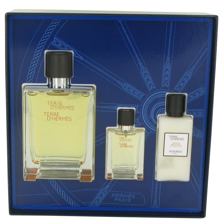 Terre D'hermes Gift Set -- Gift Set - 3.3 oz Eau De Toilette Spray + .42 oz Mini EDT Spray + 1.35 oz After Shave Balm for Men