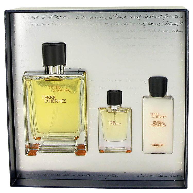 Terre D'hermes Gift Set -- Gift Set - 3.3 oz Eau De Toilette Spray + .42 oz Mini EDT Spray + 1.35 oz After Shave Lotion for Men
