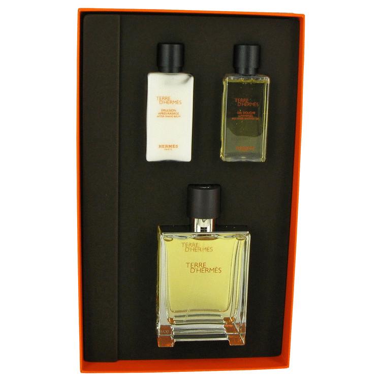 Terre D'hermes Gift Set -- Gift Set - 3.3 oz Eau De Toilette Spray + 0.5 oz After Shave Balm  + 1.35 oz Shower Gel for Men
