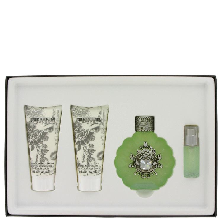 True Religion Gift Set -- Gift Set - 3.4 oz Eau De Parfum Spray + 3.4 oz Shower Gel + 3.4 oz Body Lotion + .25 oz Mini for Women