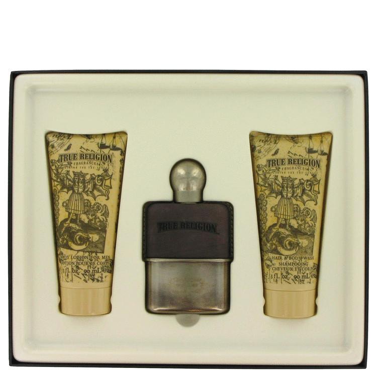 True Religion Gift Set -- Gift Set - 1.7 oz Eau De Toilette Spray + 3 oz Hair & Body Wash + 3 oz Body Lotion for Men for Men