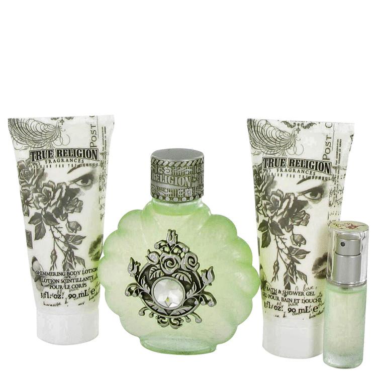 True Religion Gift Set -- Gift Set - 1.7 oz Eau De Toilette Spray + + 3.4 oz Shower Gel + 3.4 oz Body Lotion for Women