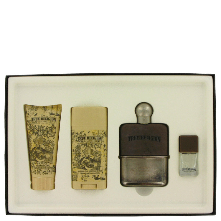 True Religion Gift Set -- Gift Set - 3.4 oz Eau De Toilette Spray + 3 oz Hair & Body Wash + 2.75 oz Deodorant +  .25 oz MiniEDT for Men