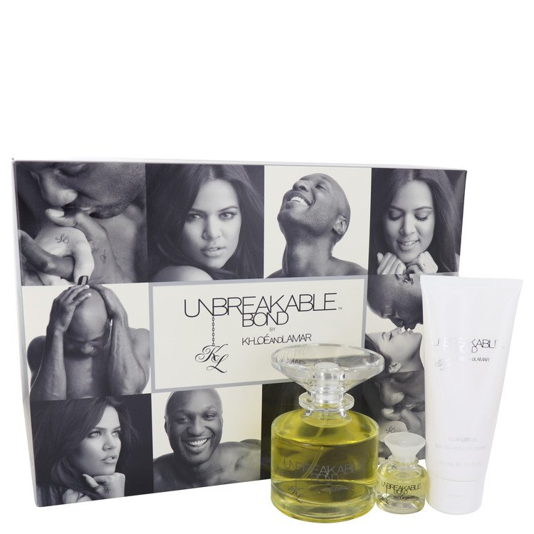 Unbreakable Bond by Khloe and Lamar for Women Gift Set -- 3.4 oz Eau De Toilette Spray + .25 oz Mini EDT Spray ++ 3.4 oz Body Lo