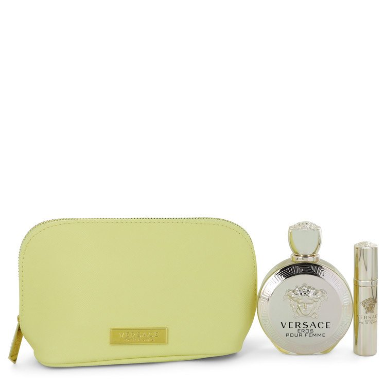 Versace Eros Gift Set -- Gift Set - 3.4 oz Eau De Parfum spray + 0.3 oz  Mini EDP Spray  In Versace Yellow Pouch for Women