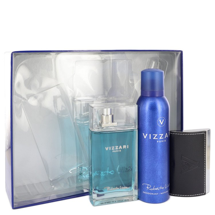 Vizzari by Roberto Vizzari for Men Gift Set -- 3.3 oz Eau De Toilette Spray + 6.6 oz Deodorant Spray + Card Holder