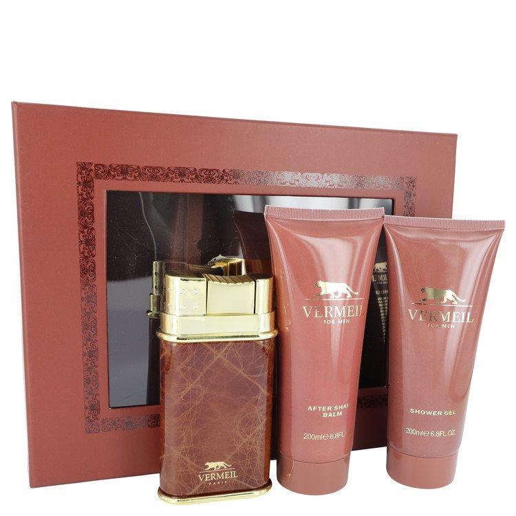 VERMEIL by Vermeil for Men Gift Set -- 3.3 oz Eau De Toilette Spray + 6.8 oz After Shave Balm + 6.8 oz Shower Gel