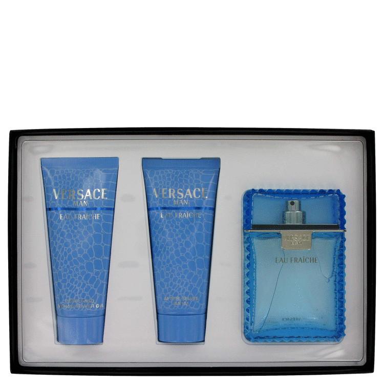 Versace Man Gift Set -- Gift Set - 3.4 oz Eau De Toilette Spray (Eau Fraiche) + 3.4 oz Shower Gel + 3.4 oz After Shave Balm for Men