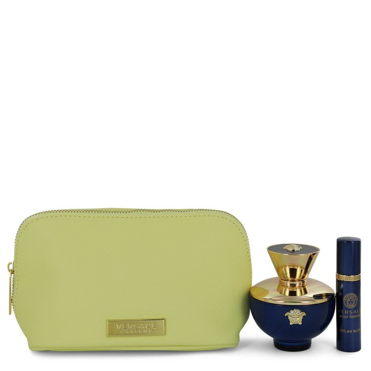 Versace Pour Femme Dylan Blue Gift Set -- Gift Set - 3.4 oz Eau De Parfum spray + 0.3 oz  Mini EDP Spray  In Versace Pouch for Women