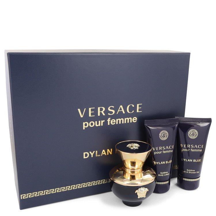 Versace Pour Femme Dylan Blue for Women, Gift Set (1.7 oz EDP Spray + 1.7 oz Body Lotion + 1.7 oz Shower Gel)