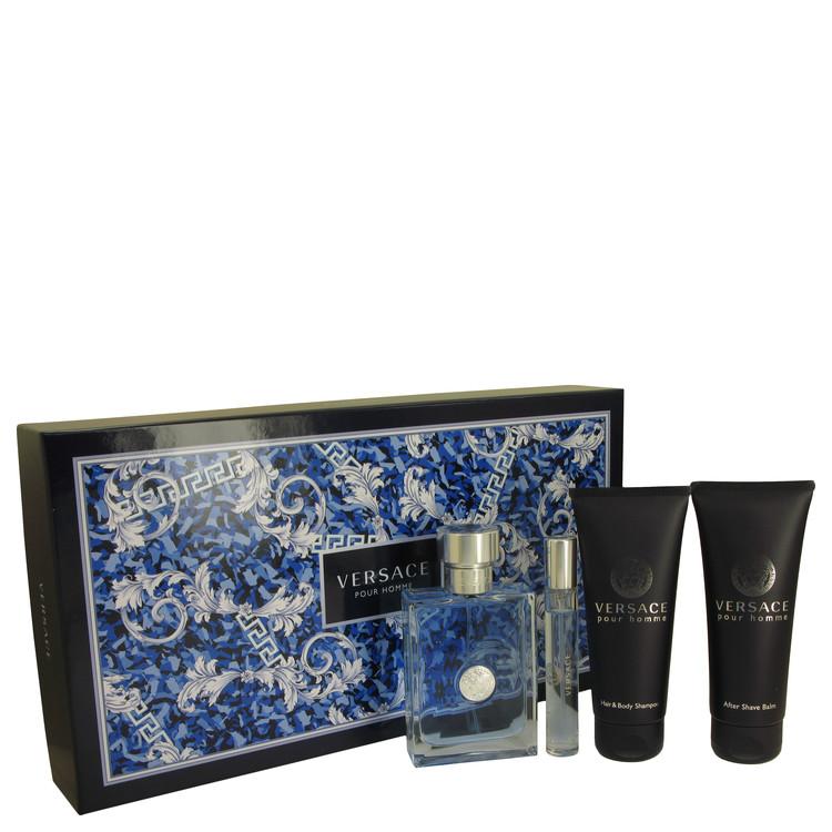 Versace Pour Homme for Men, Gift Set (3.4 oz EDT Spray + 0.3 oz Mini EDT Spray + 3.4 oz After Shave Balm + 3.4 oz Hair & Body Shampoo)