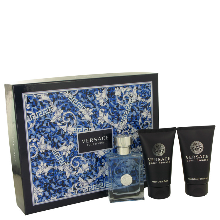 Versace Pour Homme for Men, Gift Set (1.7 oz EDT Spray + 1.7 oz Hair & Body Shampoo + 1.7 After Shave Balm)