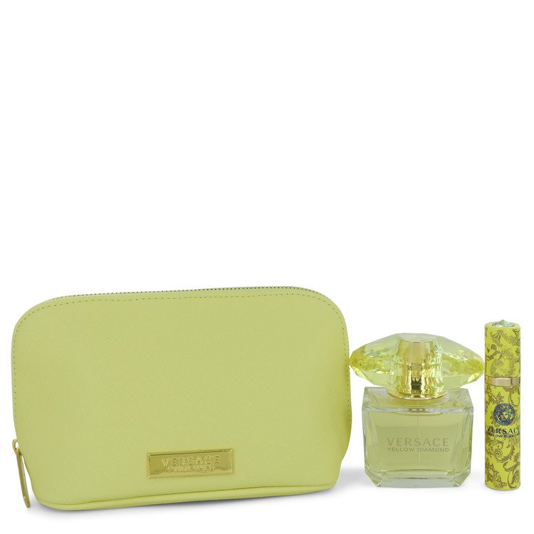 Versace Yellow Diamond Gift Set -- Gift Set - 3 oz Eau De Toilette Spray + 0.3 oz  Mini EDP Spray  In Versace Yellow Pouch for Women